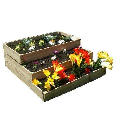 4 ft. x 4 ft. x 17.5 in Natural colored wood Waterfall/Pyramid Garden Bed Kit