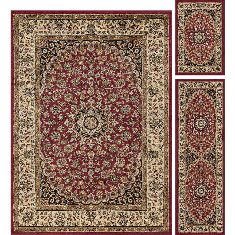 Tayse Rugs Elegance Red 5 Ft X 7 3 Piece Rug Set