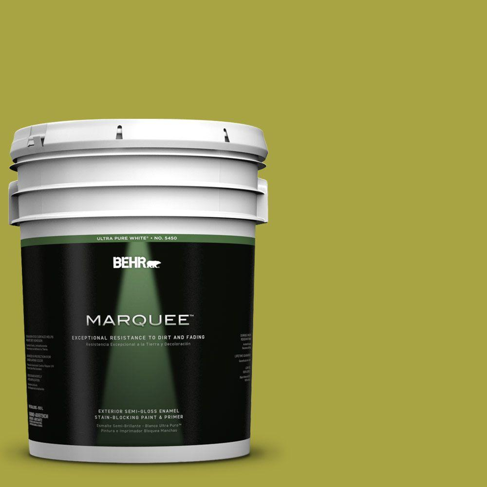 BEHR MARQUEE 5-gal. #400B-7 Lemon Grass Semi-Gloss Enamel Exterior Paint