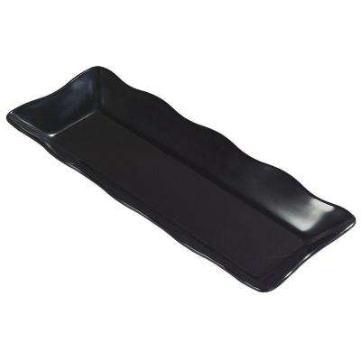 17.5 in. x 6.7 in. Melamine Scalloped Display Platter in Black (Case of 4)