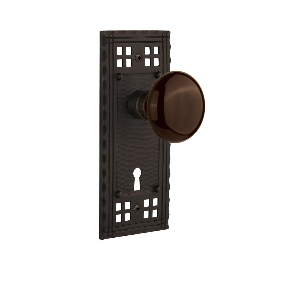 Craftsman Plate Interior Mortise Brown Porcelain Door Knob in Oil-Rubbed Bronze