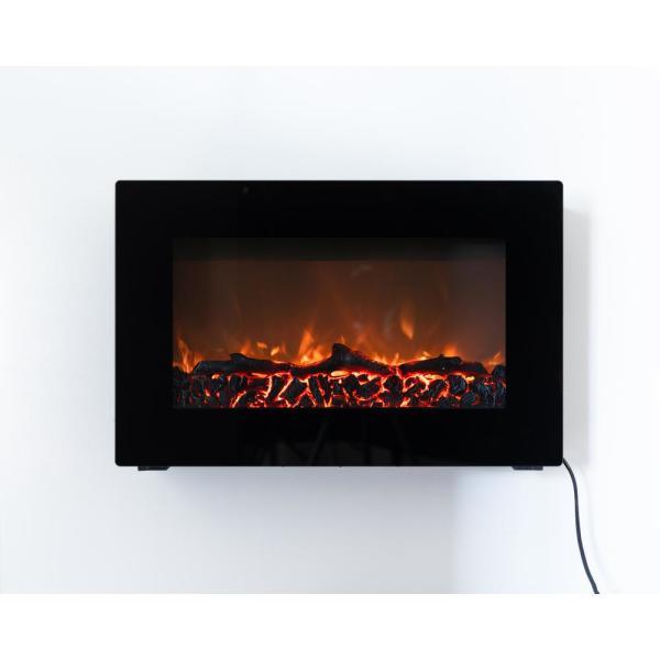 Fire Sense 30 In Wall Mount Electric Fireplace In Black 60757 The Home Depot