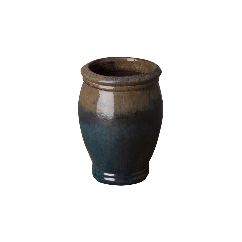 Emissary 10 in. Dia Caribbean Koffee Round Ceramic Planter