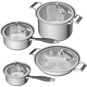 CookCraft by Candace 8-Piece Stainless Steel Cookware Set