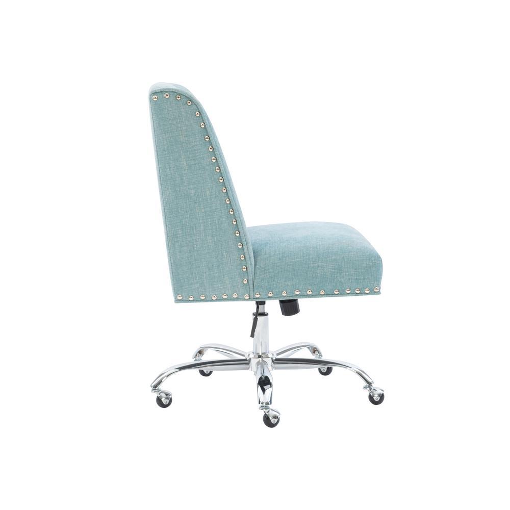 Linon Home Decor Draper Aqua Polyester Office Chair 178404aqua01u The Home Depot
