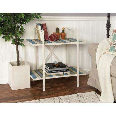 Distressed Multi-Colored 2-Tier Slatted Shelf