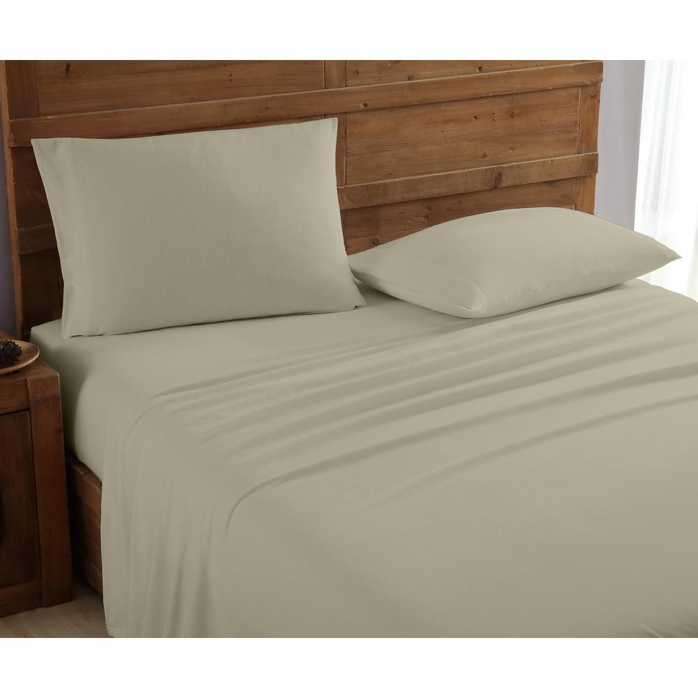 Geraldine 100% Cotton Taupe Flannel Twin Sheet Set M577567