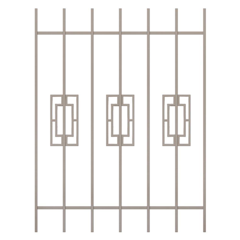 Unique Home Designs Modern Trifecta 36 in. x 48 in. Tan 7-Bar Window Guard-DISCONTINUED