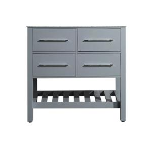 35 inch Main Cabinet Only in Gray with Matte/Polished Chrome Hardware