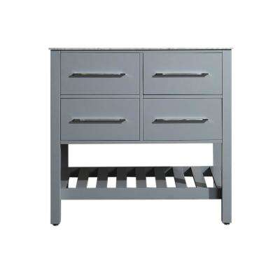 Bosconi 35 in. Main Cabinet Only in Gray with Matte/Polished Chrome Hardware
