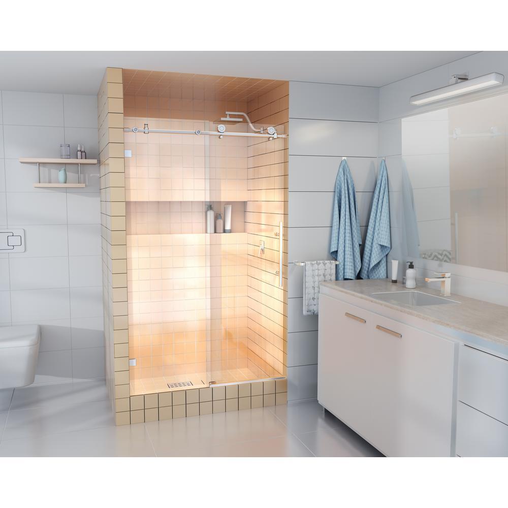 48 in. - 52 in. x 78 in. Frameless Sliding Shower Door in Brushed Nickel with Handle