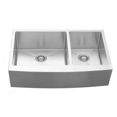 Elite Apron-Front Stainless Steel 36 in. 16-Gauge Double Bowl Kitchen Sink