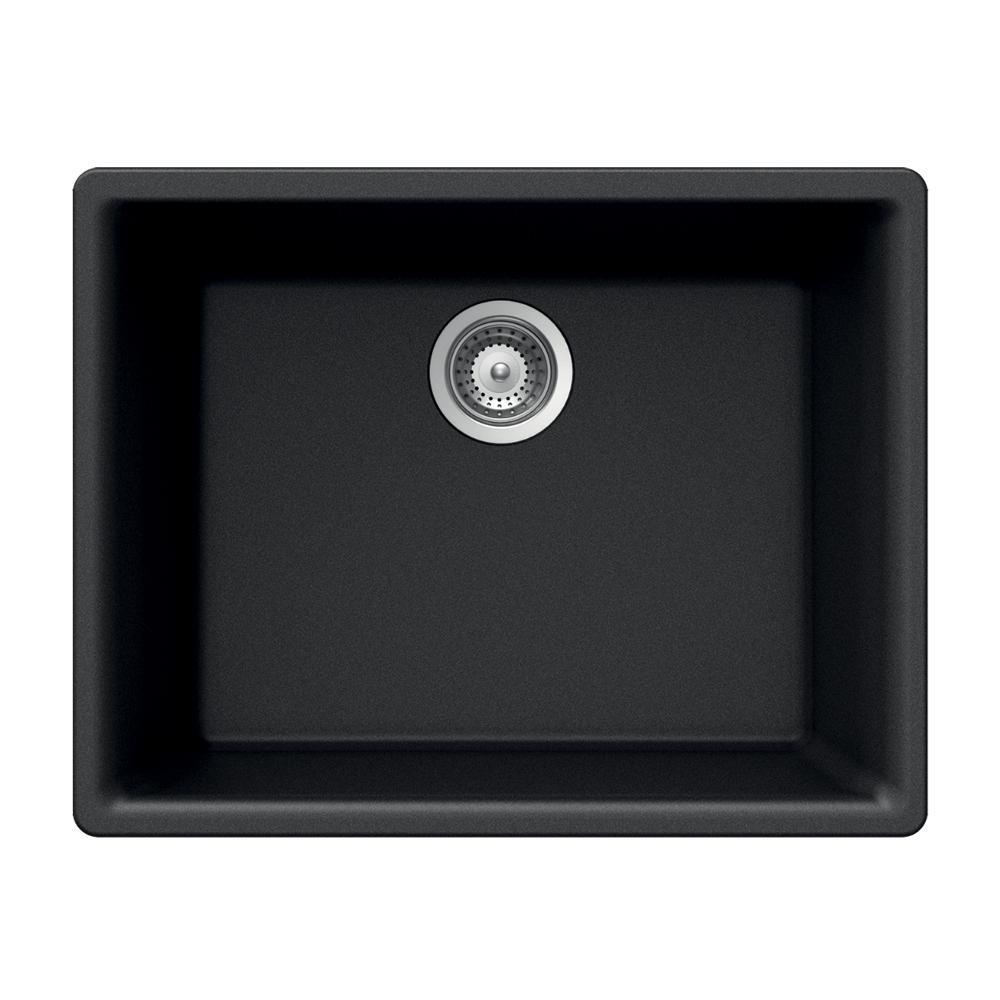 Quartztone Undermount Granite 24 in. 1-Hole Single Bowl Kitchen Sink in Midnite