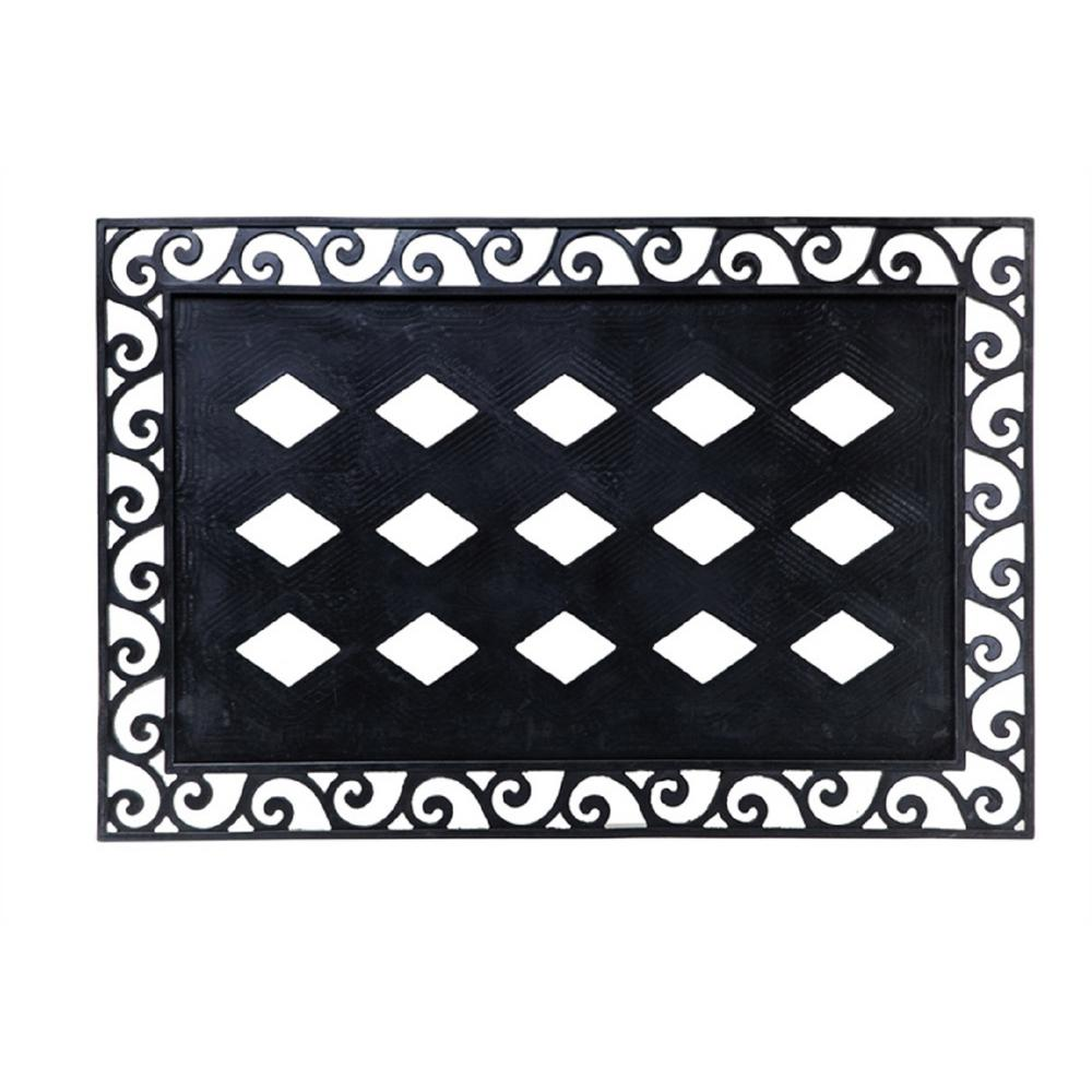 Merveilleux Evergreen Black 36 In. X 24 In. Traditional Rubber Door Mat Base