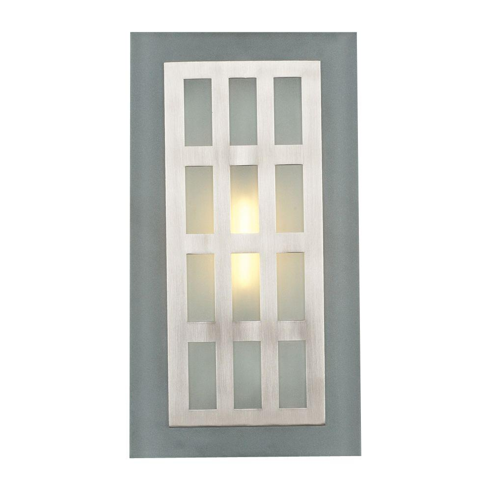 PLC Lighting 1-Light Satin Nickel Sconce with Acid Frost Glass-CLI-HD2312SN - The Home Depot