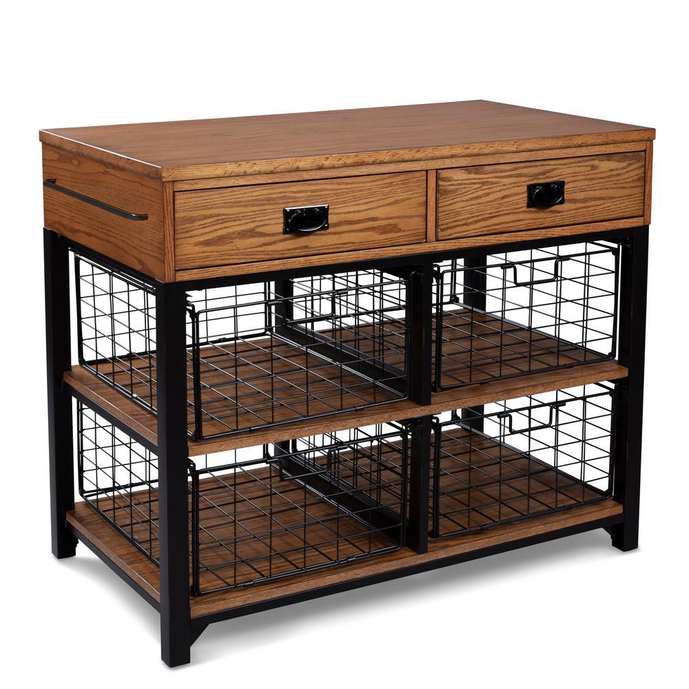 Deals on HOMESTYLES Modern Craftsman Oak Kitchen Island with Wood Top