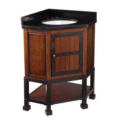 Canton 34 in. W x 25 in. D Corner Bath Vanity in Brown Cherry with Black Granite Vanity Top with White Basin