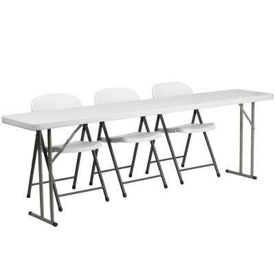96 in. White Plastic Tabletop Plastic Seat Folding Table and Chair Set