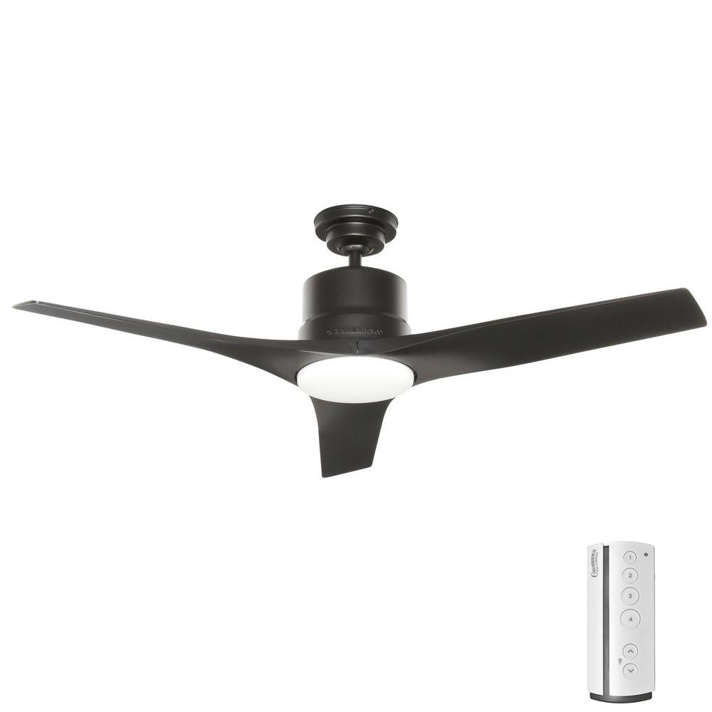 Hampton bay north pond 52 in indooroutdoor matte black ceiling fan led indooroutdoor matte black ceiling fan workwithnaturefo