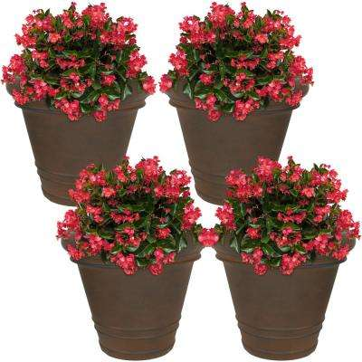16 in. Rust Crozier Poly Flower Pot Planter (4-Pack)