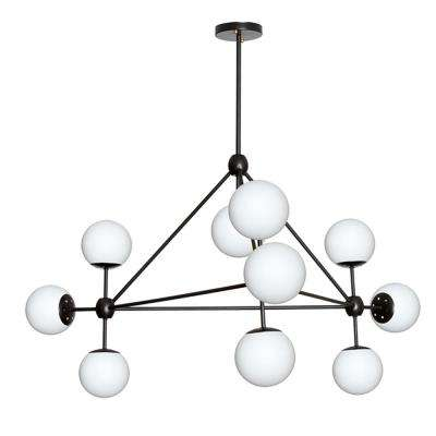 10-Light Black Chandelier with Frosted Glass