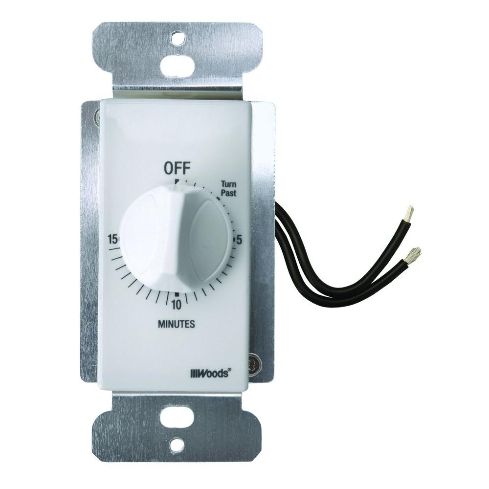 20-Amp 15-Minute In-Wall Spring Wound Countdown Timer Switch, White