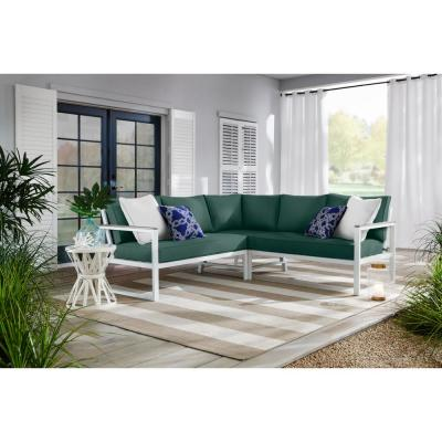 West Park White Aluminum Outdoor Patio Sectional Sofa Seating Set with CushionGuard Charleston Blue-Green Cushions