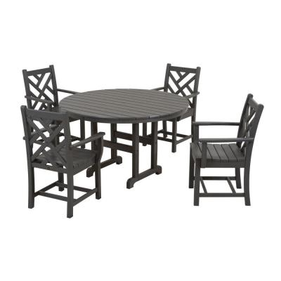 Chippendale Slate Grey 5-Piece Plastic Outdoor Patio Dining Set