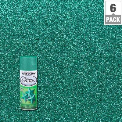 10.25 oz. Teal/Turquoise Glitter Spray Paint (6-Pack)