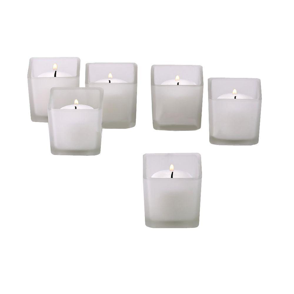 White Frosted Votive Candles in Square Frost Glass Holders (Set of