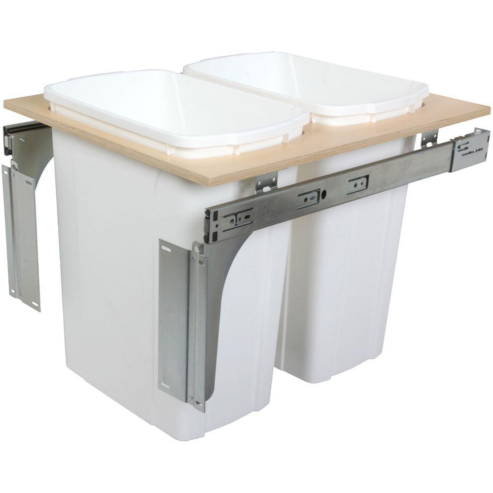 Knape & Vogt 17.5 in. x 17.5 in. x 22.5 in. In Cabinet Pull Out Top Mount Trash Can