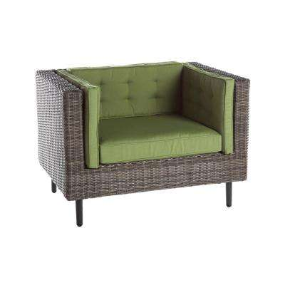 Aimee 1-Piece Wicker Patio Seating Set with Spectrum-Cilantro Cushions
