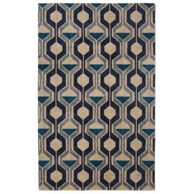 Ring Road Mid-Century Modern Geometric Blue 7 ft. 6 in. x 9 ft. 6 in. Area Rug