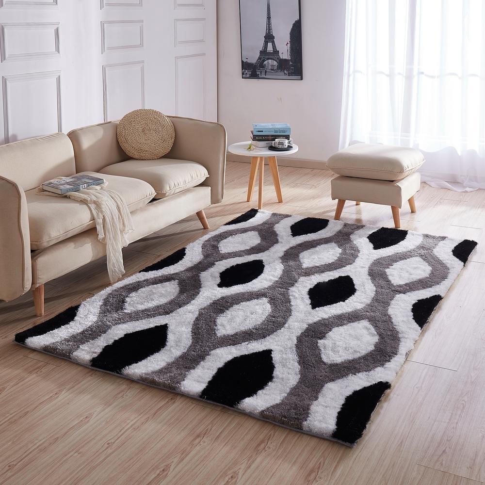 Casa Regina Shaggy Collection 3d Design Geometric Trellis Black Grey