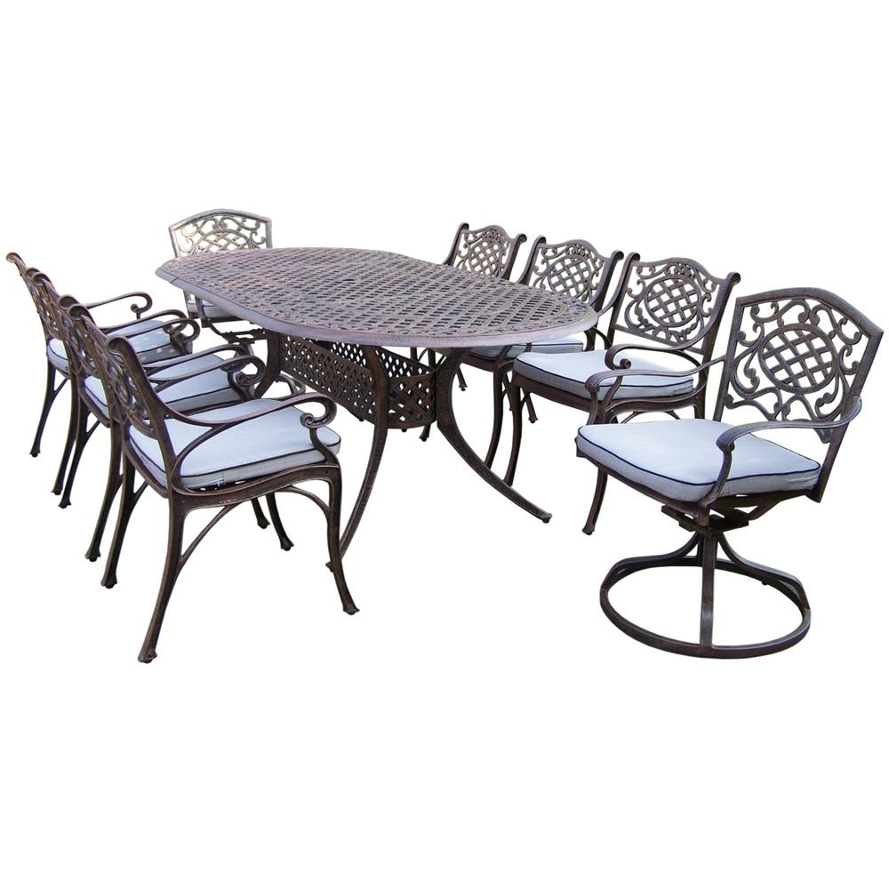 9-Piece Aluminum Outdoor Dining Set with Oval Table 6 Cushioned Arm