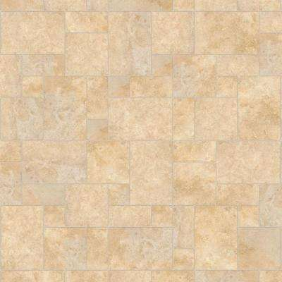 Take Home Sample - Castle Travertine Vinyl Universal Flooring - 8 in. x 10 in.