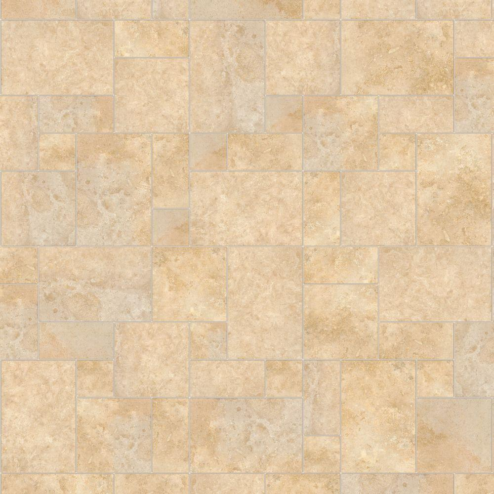 HDX 10 ft. Wide Castle Travertine Vinyl Universal Flooring Your Choice Length
