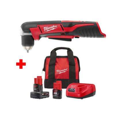 M12 12-Volt Lithium-Ion Cordless 3/8 in. Right Angle Drill with One 3.0 Ah and One 1.5 Ah Battery, Charger and Bag