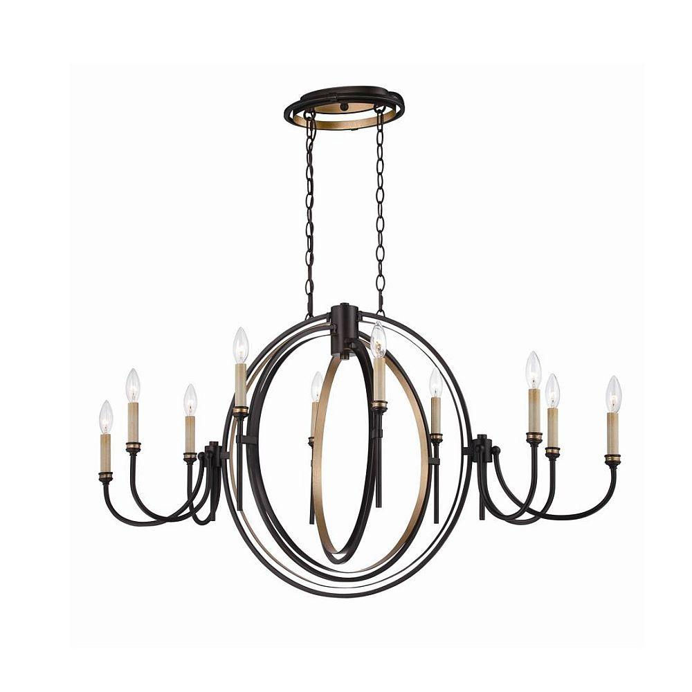 infinity 10 light oil rubbed bronze and gold leaf oval chandelier