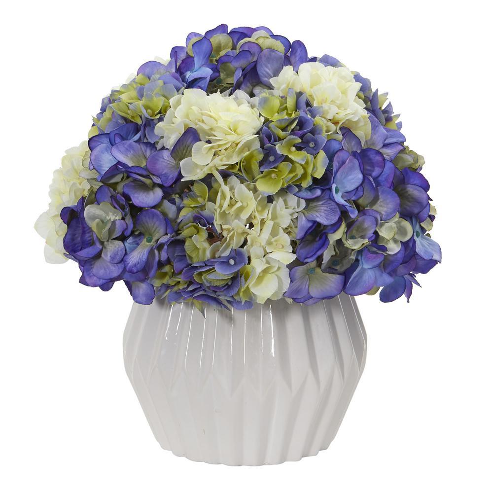 Indoor 12 in. Hydrangea Artificial Plant in White Vase