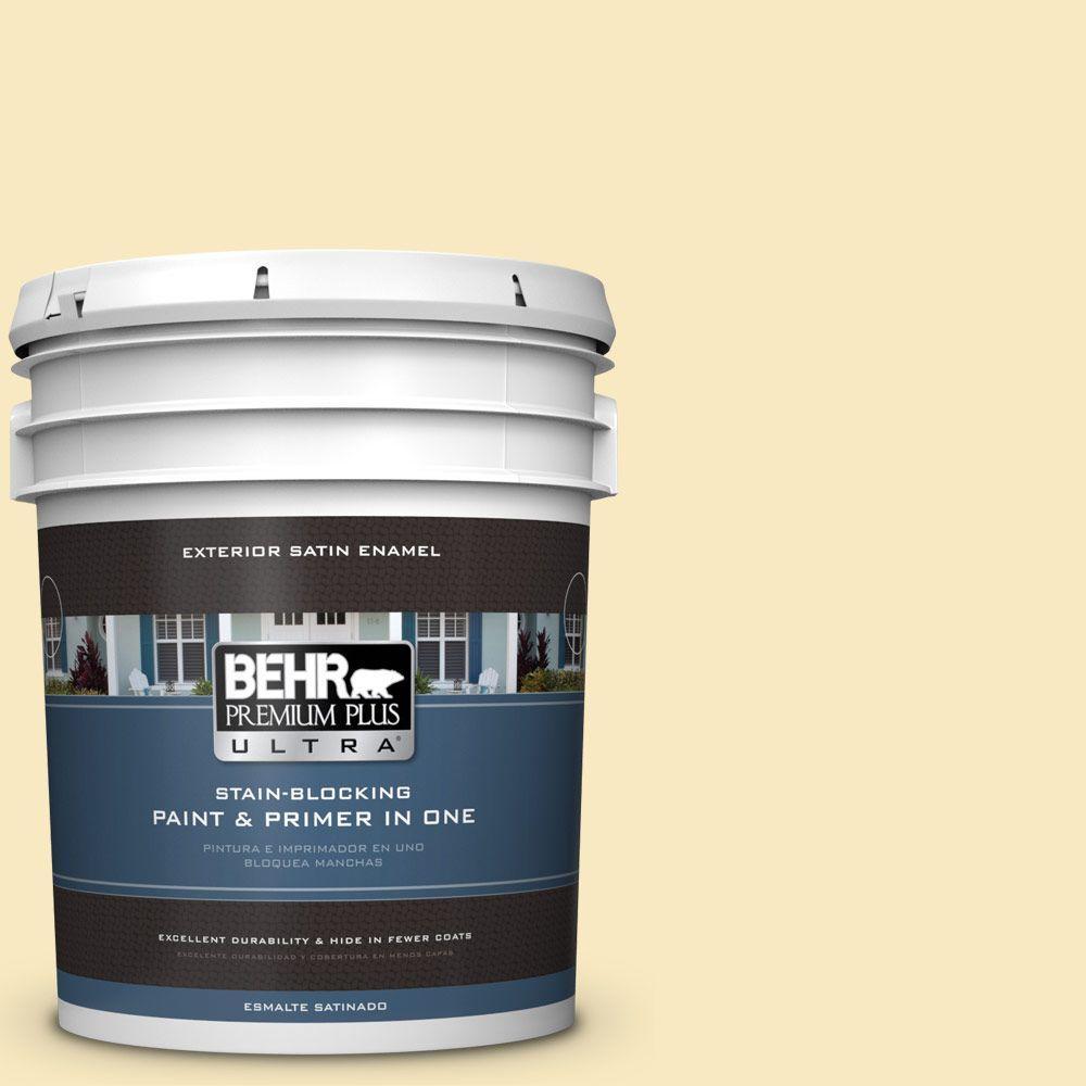 BEHR Premium Plus Ultra 5-gal. #T15-9 Dandelion Tea Satin Enamel Exterior Paint