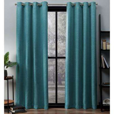 Oxford 52 in. W x 63 in. L Woven Blackout Grommet Top Curtain Panel in Teal (2 Panels)