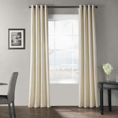 Pale Ivory Bark Weave Solid Cotton Grommet Curtain - 50 in. W x 108 in. L