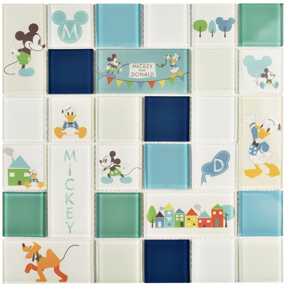 Disney Classic Aqua 11-3/4 in. x 11-3/4 in. x 5 mm Glass Mosaic Tile ...