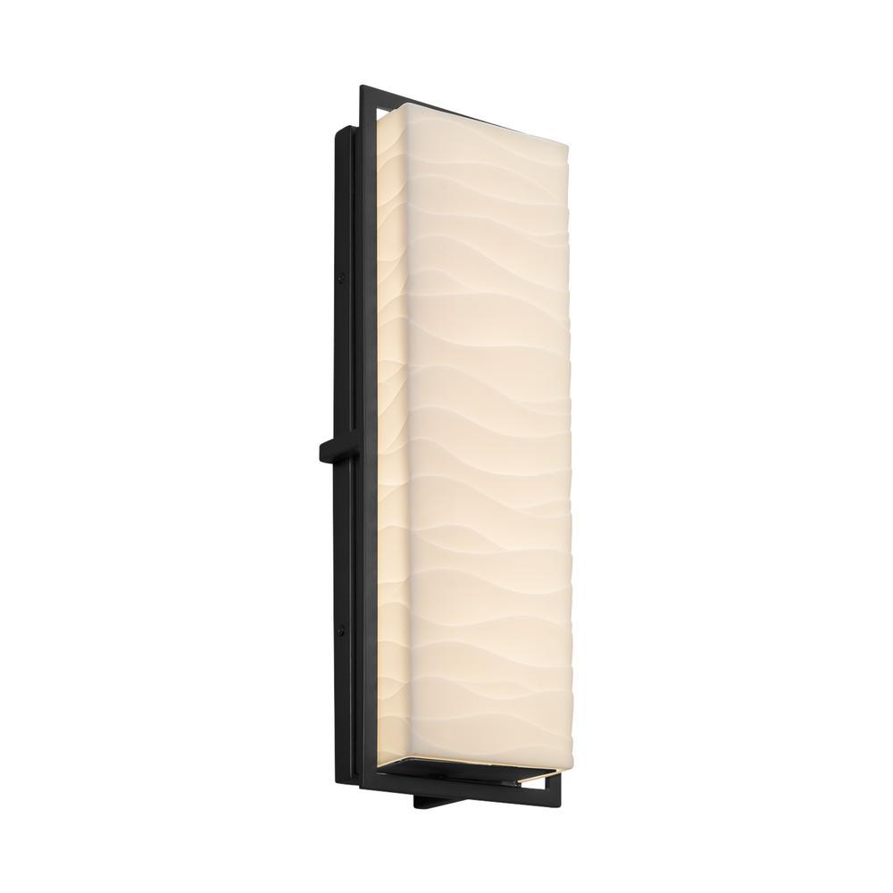 Justice Design Porcelina Avalon Large Matte Black LED Outdoor Wall Sconce with Waves Shade