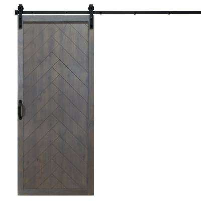 36 in. x 84 in. Herringbone Ash Gray Alder Wood Interior Barn Door Slab with Sliding Door Hardware Kit