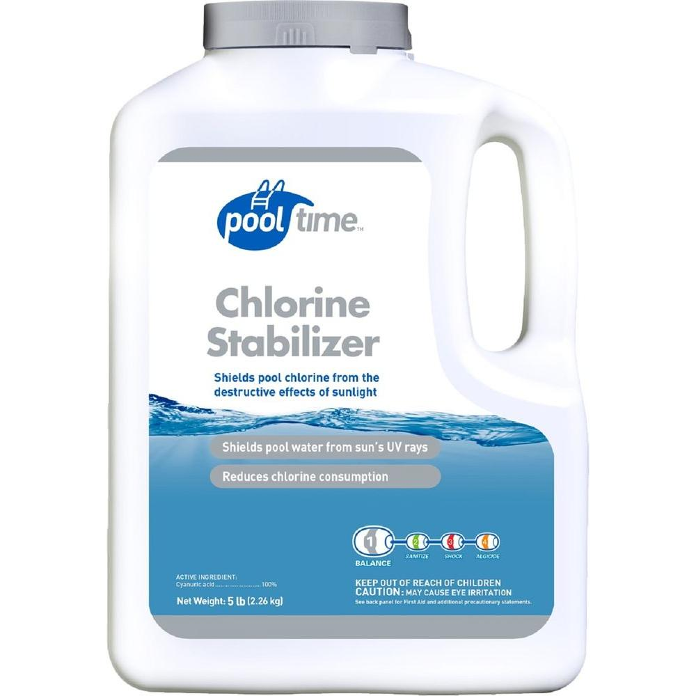 Pool time 5 lb chlorine stabilizer 23417ptm the home depot for Pool time pools