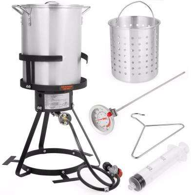 30 Qt. 55,000 BTU Propane Gas Stove Aluminum Pot Turkey Deep Fryer Kit (6-Piece)