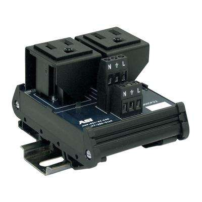 15 Amp 125-Volt Dual AC Outlet Single Phase Interface Module DIN Mount