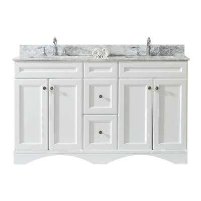 Talisa 60 in. W Double Bath Vanity in White with Marble Vanity Top and Square Basin with Faucet